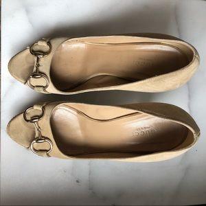 Gucci Shoes - Gucci Suede Peep Toe Horsebit Platform Heels